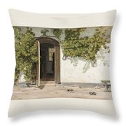 Entrance To The Rectory At Hill Place Throw Pillow