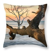 Charleston South Carolina Boneyard Beach Sunrise Scene  Throw Pillow