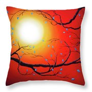 Entwining Branches Of Turquoise Leaves Throw Pillow