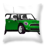 Envy Green Mini Cooper Throw Pillow
