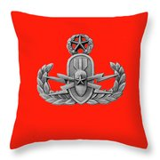 Eod Master Badge Emblem On Red Throw Pillow