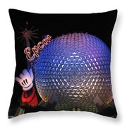 Epcot At Night Throw Pillow