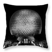 Epcot In Black And White Throw Pillow