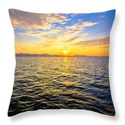 Epic Colorful Sunset On Sea Throw Pillow