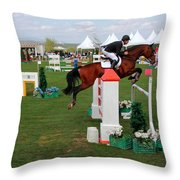 Equestrian Jumping Competition  Throw Pillow