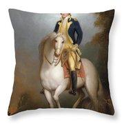 Equestrian Portrait Of George Washington Throw Pillow