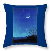 Equinox  Moon And Planets #2 Throw Pillow