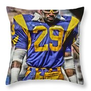 Eric Dickerson Los Angeles Rams Art Throw Pillow