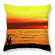 Erie Beach Sunset Throw Pillow