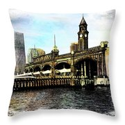 Erie Lakawanna Ferry And Train Station Throw Pillow