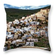 Ermoupoli Cityscape Throw Pillow
