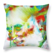 Ernest Hemingway - Watercolor Portrait.10 Throw Pillow