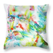 Ernst Haeckel - Watercolor Portrait Throw Pillow