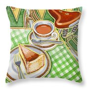 Eroica Britannia Bakewell Pudding And Cup Of Tea On Green Throw Pillow