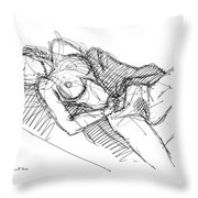 Erotic Art Drawings 7 Throw Pillow