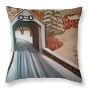 Erwina Covered Bridge, Pa  Throw Pillow