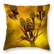 Eryngium Gold Throw Pillow