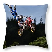 Escaping Motorbike Throw Pillow
