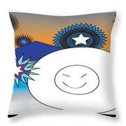 Eskimo And Snowflakes Graphic Throw Pillow