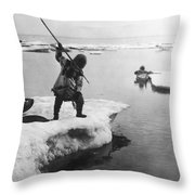 Eskimo Fishermen Throw Pillow