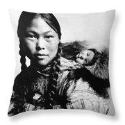 Eskimo Woman And Child Throw Pillow