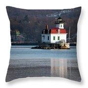 Esopus Lighthouse In December Throw Pillow