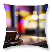 Espresso Coffee Cup In Cafe At Night Throw Pillow