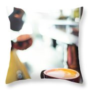 Espresso Expresso Italian Coffee Cup With Machine  Throw Pillow