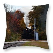 Essex Steam Train Coming Into Fall Colors Throw Pillow