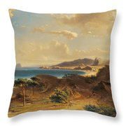 Estepona Beach With The View Of The Rock Of Gibraltar Throw Pillow
