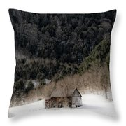 Ethereal Barn In Winter Throw Pillow