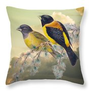Ethereal Birds On Snowy Branch Throw Pillow