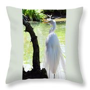 Ethereal Snowy Egret Throw Pillow