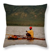 Ethiopia  Baiting A Longline On Lake Chamo Throw Pillow