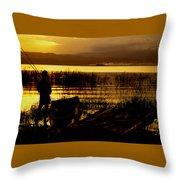 Ethiopia Catching Live-bait At Sundown On Lake Chamo Throw Pillow