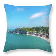 Etretat From Above, France Throw Pillow