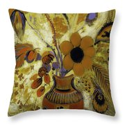 Etrusian Vase With Flowers Throw Pillow