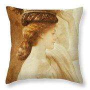 Eucharis  A Girl With A Basket Of Fruit Throw Pillow