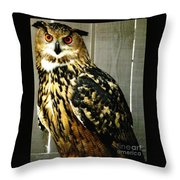 Eurasian Eagle-owl With Oil Painting Effect Throw Pillow