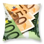 Euro Banknotes Throw Pillow