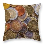 Euro Coins Throw Pillow