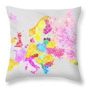 Europe Map Throw Pillow by Setsiri Silapasuwanchai