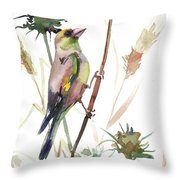 European Goldfinch In The Field Throw Pillow