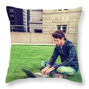 European Graduate Student Studying In New York Throw Pillow
