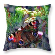 European Peacock Butterfly Throw Pillow