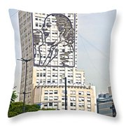 Eva Peron Outlined On The Wall Of A Skyscraper On July Nine Avenue  In Buenos Aires-argentina Throw Pillow