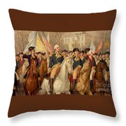 Evacuation Day And Washington's Triumphal Entry In New York City Throw Pillow