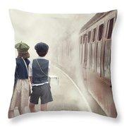 Evacuee Children On The Train Platform Throw Pillow