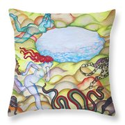 Eve Being Chased Out Of The Garden Of Eden Throw Pillow