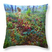 Eve Exiting Eden Throw Pillow